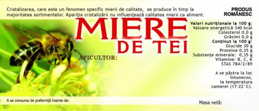 Eticheta miere Tei verde cu albina 115mm x 50 mm