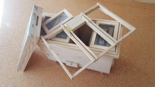 Nucleu din lemn imperechere matci cu 4 compartimente rama 3/4 pliata
