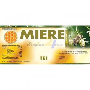 Eticheta miere Tei Nectar verde cu galben 115 mm x 50 mm