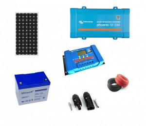 Kit fotovoltaic solar Off-Grid cu panou de 115w cu invertor 250VA