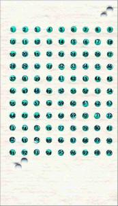 Cartela cu placute de opalit pentru marcat matcile - Verde