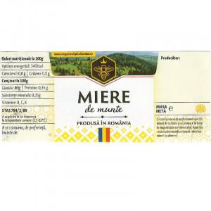 Eticheta borcan miere de munte cu motive traditionale 120mm x 52mm