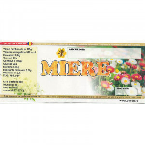 Eticheta borcan miere simpla cu flori 120mm x 50mm