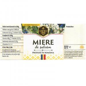 Eticheta borcan miere de Salcam cu motive traditionale 120mm x 52mm