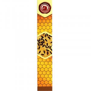Sigiliu borcan miere 22mm x 142 mm portocaliu cu faguri si albine pe fagure