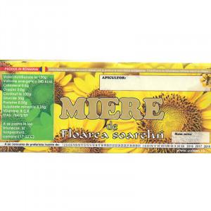 Eticheta borcan miere de Floarea Soarelui 120mm x 50mm