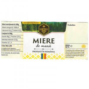 Eticheta borcan miere de Mana cu motive traditionale 120mm x 52mm
