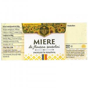 Eticheta borcan miere de Floarea Soarelui cu motive traditionale 120mm x 52mm