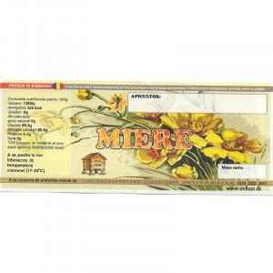 Eticheta borcan miere simpla cu stup si flori 120mm x 50mm