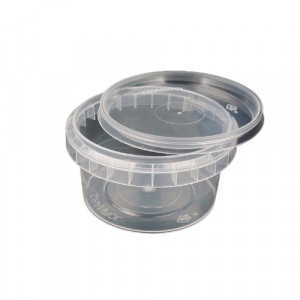 Galeata de plastic pentru miere 300g cu capac transparent