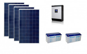 Kit fotovoltaic solar cu panouri de 1kw cu invertor Pur SInus 2400w