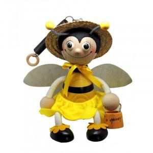 Albinuta mare din lemn cu arc fata cu aripi si bol pentru miere