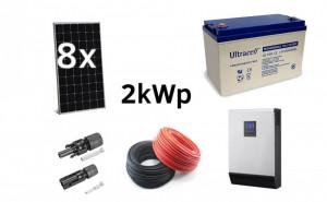 Kit Off-Grid fotovoltaic solar cu panouri de 2000wp 220v Poweracu