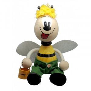 Albinuta mare din lemn cu arc baiat cu aripi si bol pentru miere