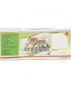 Eticheta borcan miere Salcam cu flori 120mm x 50mm