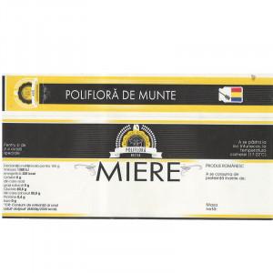 "Eticheta + Sigiliu 150x55 mm ""Poliflora de munte"""