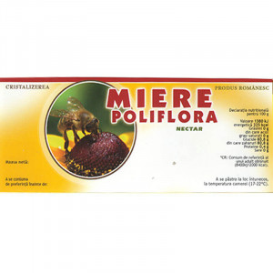 Eticheta borcan miere Poliflora Nectar portocalie115mm x 50mm