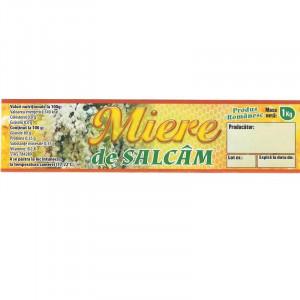 Eticheta borcan miere Salcam 1kg 150mm x 37mm