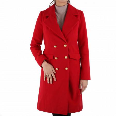 Palton Monica Red - Palton elegant cu închidere cu nasturi, căptușit pe interior. Îmbracă-l la rochii sau ținute office și asortează-l cu o pereche de mănuși din piele pentru un plus de eleganță. - Deppo.ro