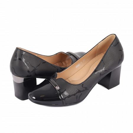Pantofi cu toc cod 90055 Negri - Pantofi din din piele ecologică, cu tălpic moale de cea mai bună calitate, toc foarte confortabili cu un calapod comod - Deppo.ro
