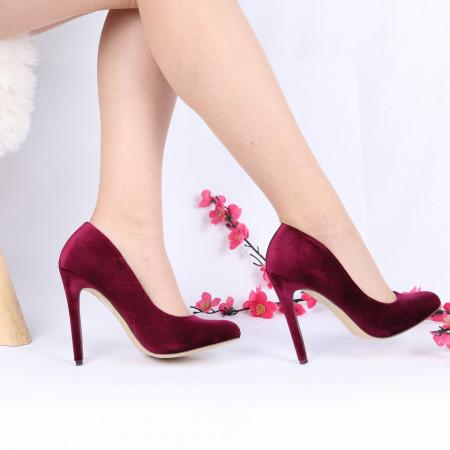 Pantofi Cu Toc cod CP52301 Wine - Pantofi cu toc din piele ecologică întoarsă cu un design unic. Fii în pas cu moda şi străluceşte la următoarea petrecere. - Deppo.ro