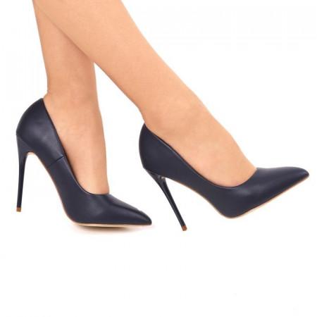 Pantofi cu toc cod EK0015 Bleumarin - Pantofi negri din piele ecologică de înaltă calitate cu tocul subţire de 11 cm şi vârf rotunjit - Deppo.ro