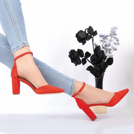 Pantofi cu toc cod OD0089 Roși - Pantofi cu toc din piele ecologică întoarsă cu un design unic și închidere prin baretă, fii în pas cu moda şi străluceşte la următoarea petrecere. - Deppo.ro