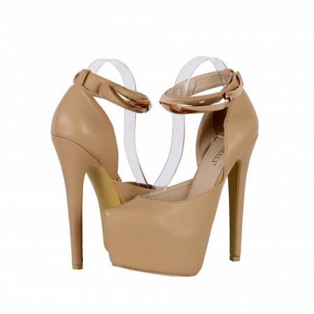 Pantofi Cu Toc Dayenn Beige - Pantofi cu toc și platformă foarte înalte pentru dame care vă pot completa o ținută fresh în acest sezon. Incalțî-te cu această pereche de pantofi la modă și asorteaz-o cu pantalonii sau fusta preferată pentru a creea o ținută deosebită. - Deppo.ro