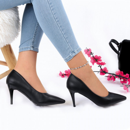 Pantofi Cu Toc Fatima Black - Pantofi cu toc din piele ecologică cu un design unic. Fii în pas cu moda şi străluceşte la următoarea petrecere. - Deppo.ro