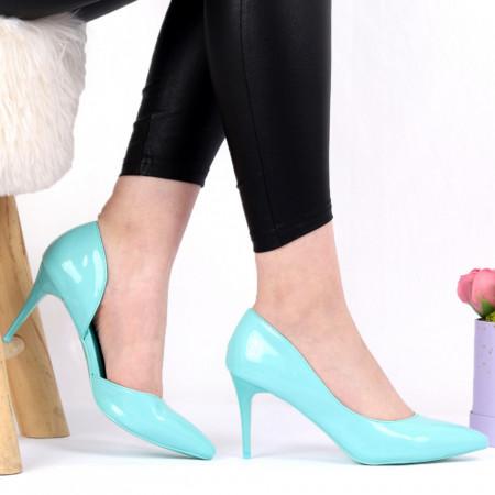 Pantofi cu toc pentru dame cod BWA39 Blue - Pantofi cu toc pentru dame din piele ecologică  Conferă lejeritate și eleganță - Deppo.ro