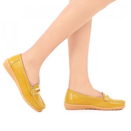 Pantofi din piele naturală cod 1117 Galbeni - Pantofi galbeni pentru dame din piele naturala cu talpă flexibilă - Deppo.ro