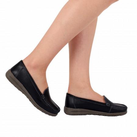 Pantofi din piele naturală cod 201 Negri - Pantofi pentru dame din piele naturală cu talpă flexibilă - Deppo.ro