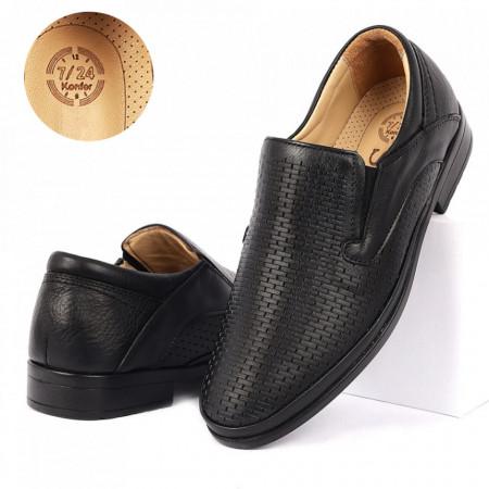 Pantofi din piele naturală cod 4337 Negri - Pantofi din piele naturală pentru bărbați, model simplu, finisaje îngrijite cu undesign deosebit - Deppo.ro