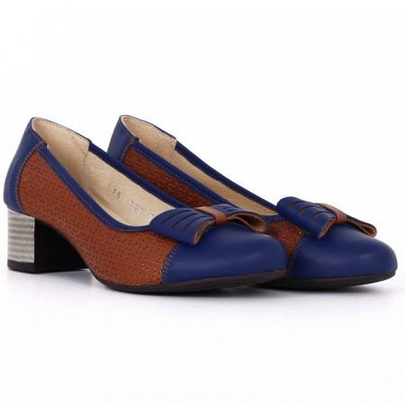 Pantofi din piele naturală Cod 4858 Albaştri - Pantofi damă din piele naturală  Foarte confortabili cu un tălpic special care conferă lejeritate chiar și în cazurile în care petreci mult timp stând în picioare. - Deppo.ro