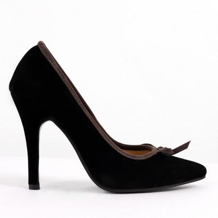 Pantofi pentru dame cod 2207 Black - Pantofi cu toc din piele ecologică lăcuită Toc  subțire Calapod comod - Deppo.ro