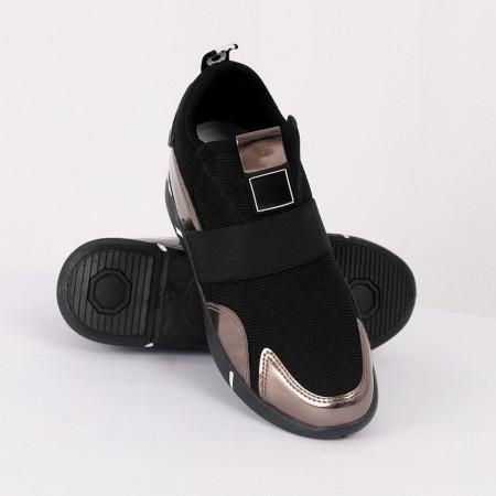 Pantofi Sport Clarissa Cod 469 - Pantofi sport dinpânză și piele ecologică lăcuită Material cu sclipici  Foarte comfortabili - Deppo.ro