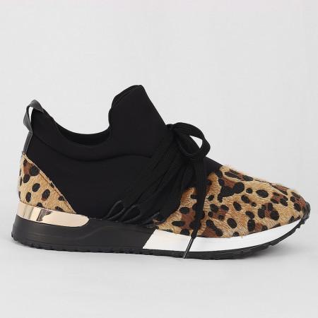 Pantofi Sport Cod 671 - Pantofi sport din piele ecologică întoarsă  Model leopard print  Închidere prin șiret  Foarte comfortabili - Deppo.ro
