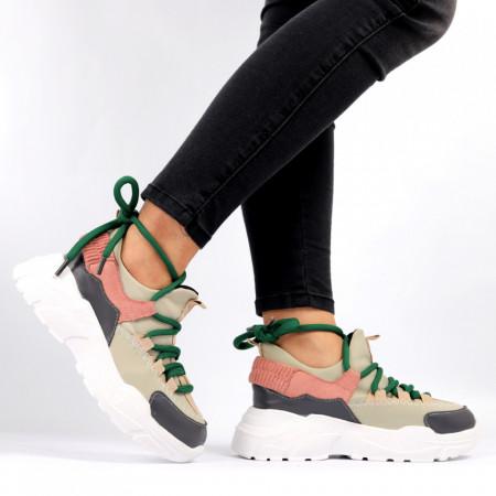Pantofi Sport pentru dame Cod 138 Beige - Pantofi sport pentru dame, din material textil  Foarte ușori și comozi  Închidere prin șiret. - Deppo.ro