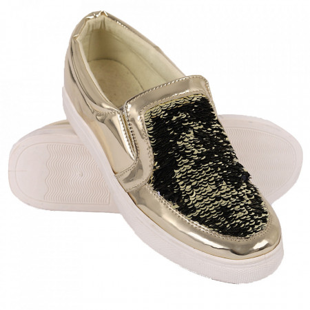Pantofi Sport pentru dame cod RW705 Gold - Pantofi sport din piele ecologică pentru dame Model cu paiete - Deppo.ro