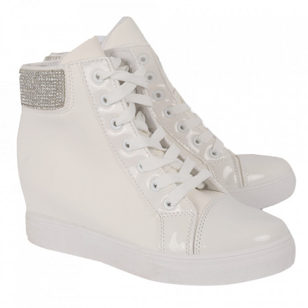 Pantofi sport tip sneakers damă cod EA-2900-36 White - Pantofi sport tip sneakers din piele ecologică cu talpă cu platformă si un calapod comod - Deppo.ro