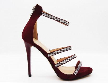 Sandale cod 841B Vişini - Sandale din piele ecologică întoarsă, barete cu pietre aplicate, înălţimea tocului de 12 cm - Deppo.ro