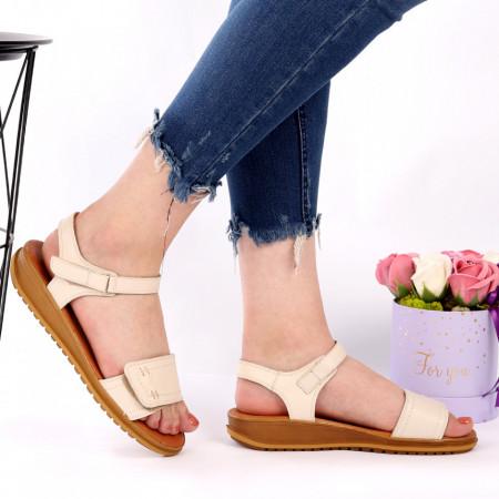 Sandale pentru dame din piele naturală cod 163213 Bej - Sandale pentru dama din piele naturală  Închidere prin scai  Calapod comod - Deppo.ro