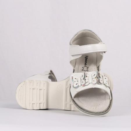 Sandale pentru fete cod CP58 Albe - Sandale pentru fete cu tălpic din piele naturală - Deppo.ro