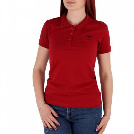 Tricou pentru dame cod TRC1 Wine - Tricou pentru dame  Model cu guler și închidere prin nasturi - Deppo.ro