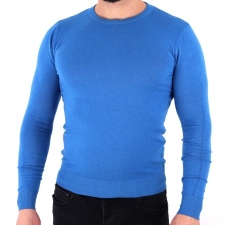 Bluză Damien Blue - Bluza simplă este cel mai versatil articol vestimentar din sezonul rece, o piesă cu reputaţie a stilului casual având compoziţia 78% Viscoză şi 22% Elastan - Deppo.ro