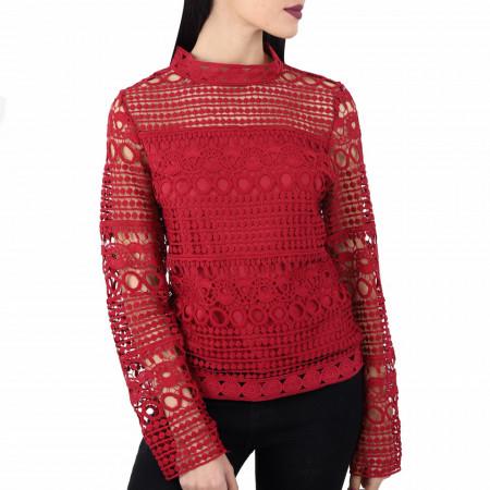 Bluză Emmalee Visiniu - Bluză elegantă, brodată Cu un model deosebit de frumos! Potrivită pentru dame! Compozitie 55% viscosa, 39% poliamidica, 6% elastan - Deppo.ro