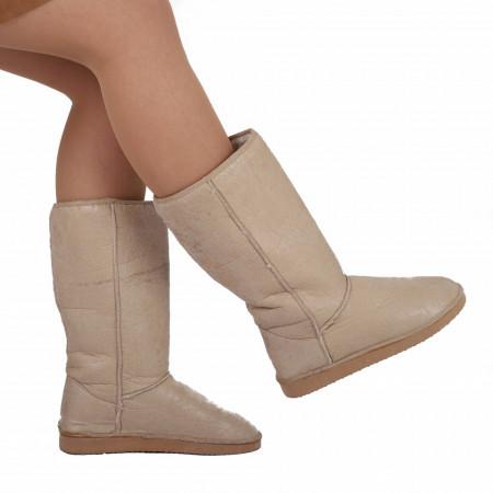 Cizme Loren Beige - Cizme tip UG din piele ecologică cu interior îmblănit ideale pentru sezonul rece - Deppo.ro