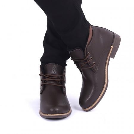 Ghete pentru bărbați cod 43198 Maro - Ghete din piele ecologică, foarte confortabile cu un calapod comod și închidere cu șiret - Deppo.ro