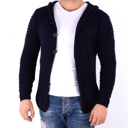 Jerseu Amir Blue - Este o haină de iarnă pentru bărbați foarte lejeră și călduroasă,se închide cu fermoar, de culoare belumarin cu mâneci lungi și dispune de o glugă - Deppo.ro