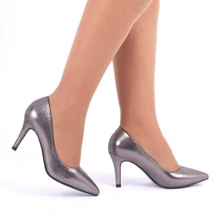 Pantofi cu toc cod C60 Gri - Pantofi cu vârf ascuţit şi toc subţire din piele ecologică, foarte confortabili cu un calapod comod - Deppo.ro